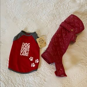 Dog clothes set, t-shirt & puffer jacket, red, NWT